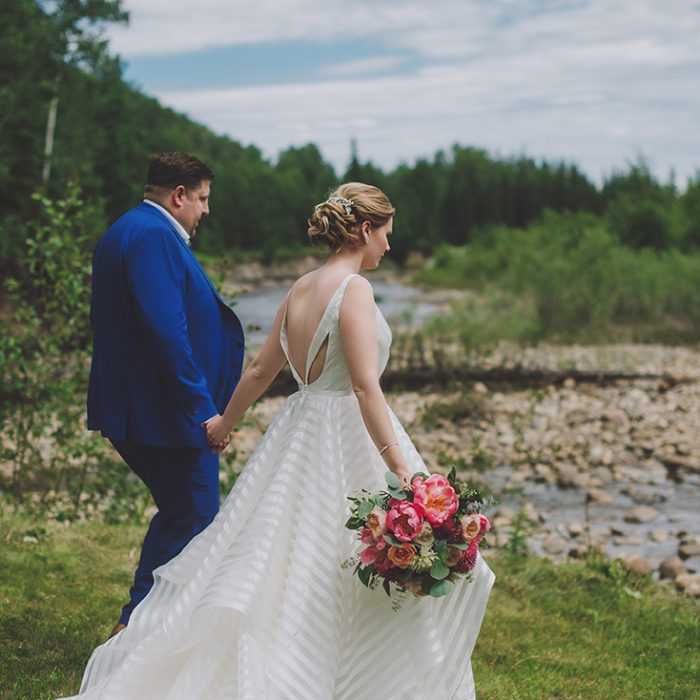 Karci + Lincoln Married in Beaverlodge in choral and navy bliss....