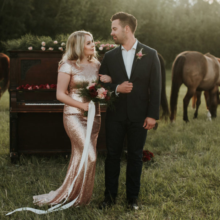 A little Country + Elegance Engagement Session in a Horse Field